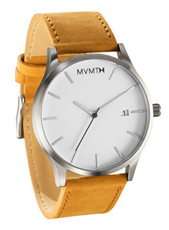 MVMT Watches White Face with Tan Leather Strap Men's Watch, $89