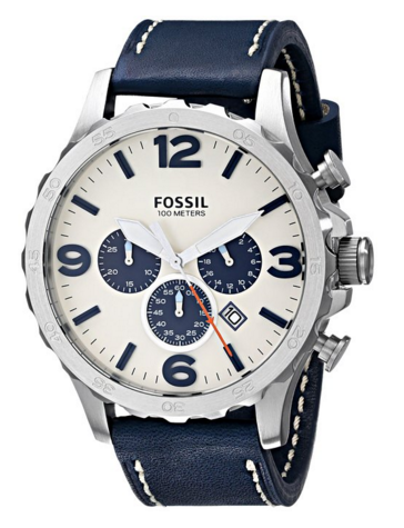 Fossil Men's JR1480 Nate Stainless Steel Chronograph Watch with Navy Leather Band, $87