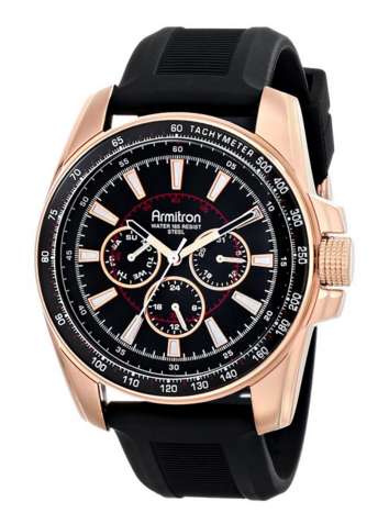 Armitron Men's Stainless Steel Watch with Black Silicone Band, $60