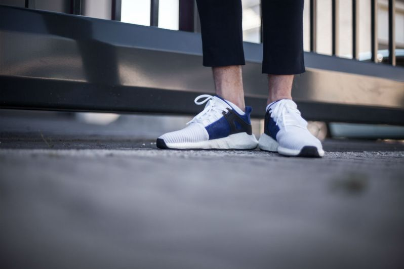 separation shoes 5ee62 8d6fe The Boost midsole and the black rubber outsole complete the look. The adidas  EQT Support 93/17 White 'Royal' is currently available at Inflammable.