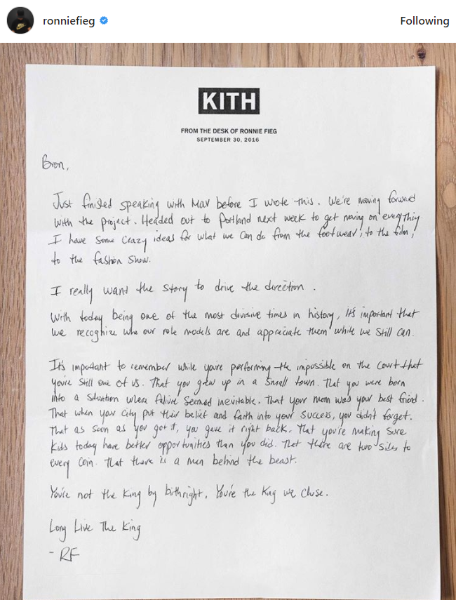 """... removable strap that reads """"Long Live the King."""" As of now only three  colorways have been revealed. Fieg also shared the handwritten note that to  LeBron ..."""
